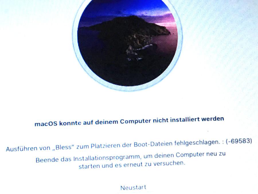 macOS konnte auf deinem Computer nicht installiert werden
